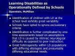 learning disabilities as operationally defined by schools siperstein mcmillan