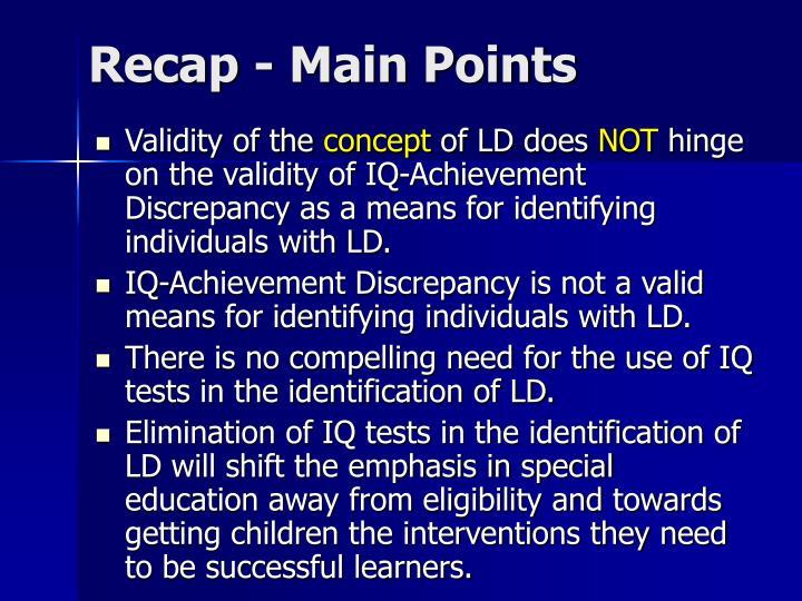 Recap - Main Points