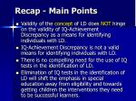 recap main points