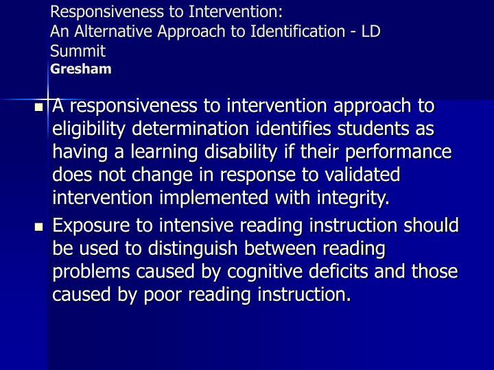 Responsiveness to Intervention: