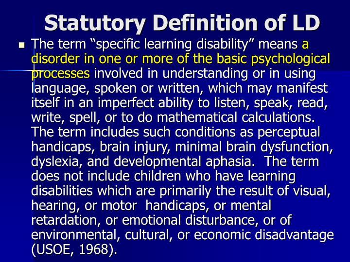 Statutory Definition of LD