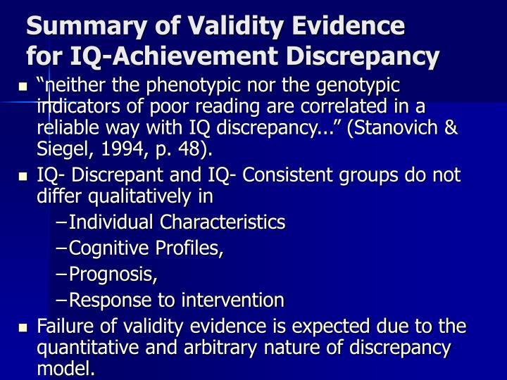 Summary of Validity Evidence