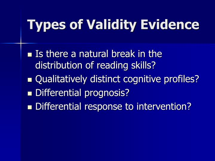 Types of Validity Evidence
