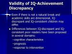validity of iq achievement discrepancy