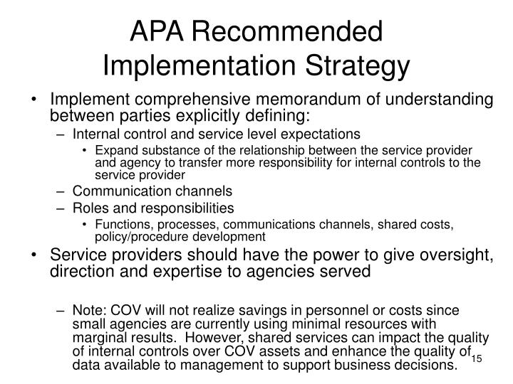 APA Recommended Implementation Strategy