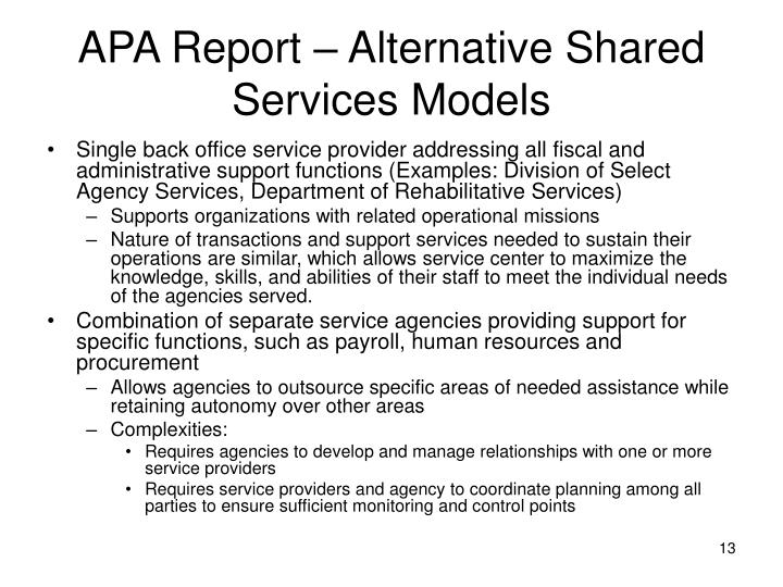 APA Report – Alternative Shared Services Models
