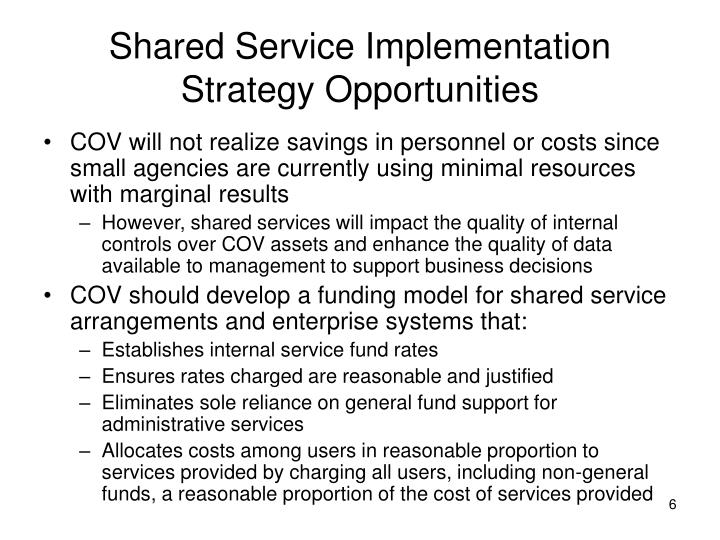Shared Service Implementation Strategy Opportunities