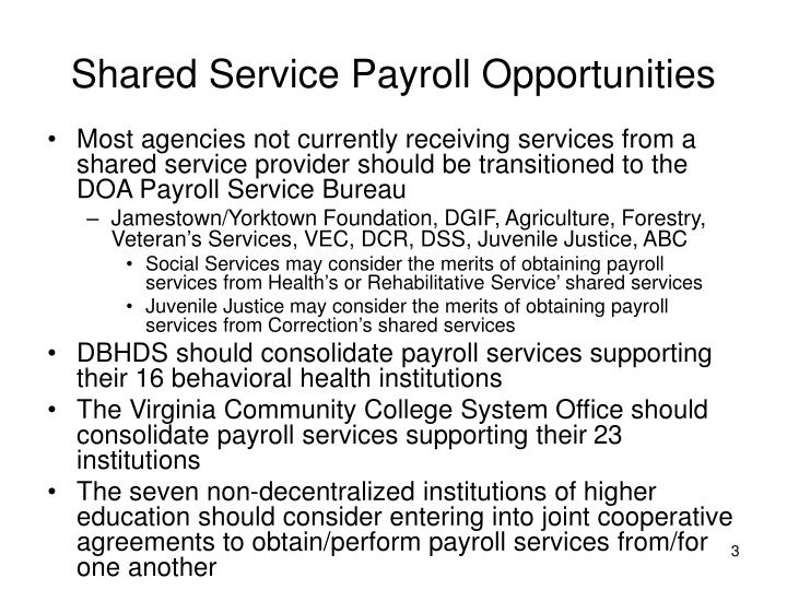 Shared Service Payroll Opportunities
