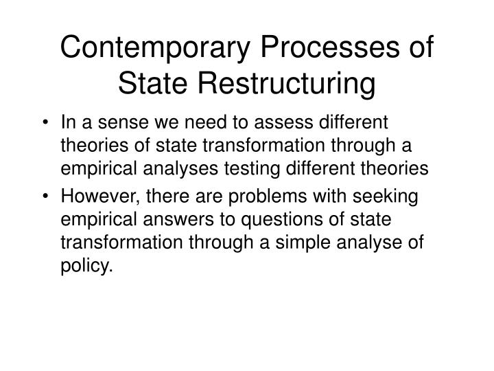 Contemporary Processes of State Restructuring