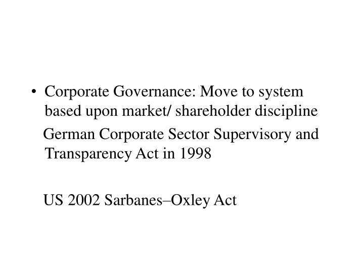 Corporate Governance: Move to system based upon market/ shareholder discipline