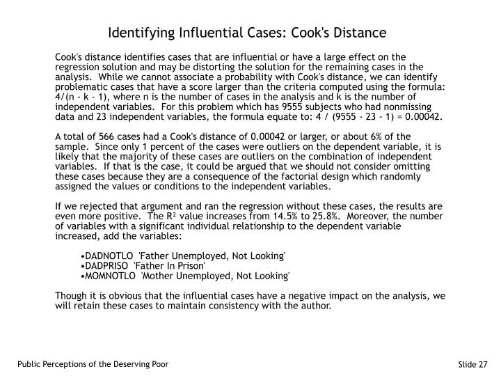 Identifying Influential Cases: Cook's Distance