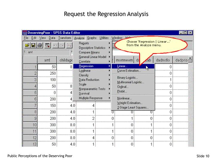 Request the Regression Analysis