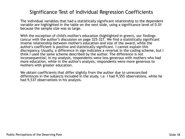 Significance Test of Individual Regression Coefficients