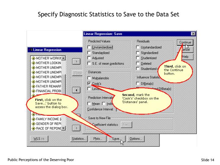 Specify Diagnostic Statistics to Save to the Data Set