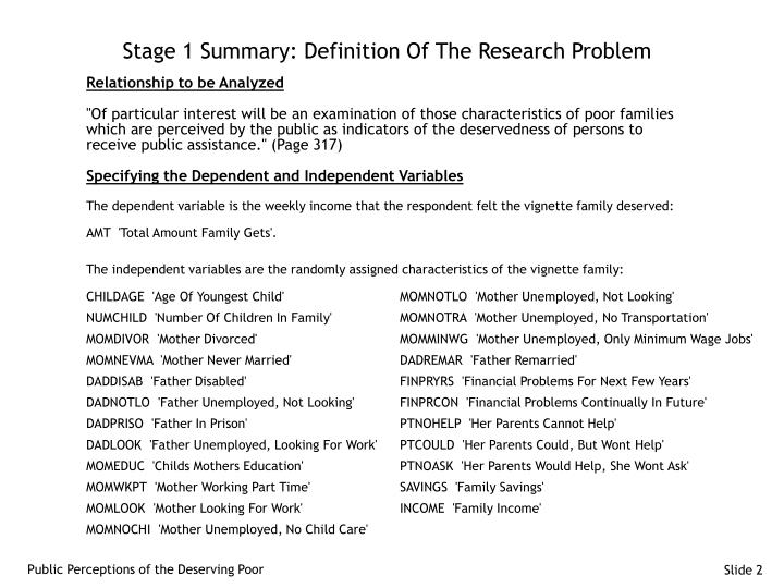 Stage 1 Summary: Definition Of The Research Problem