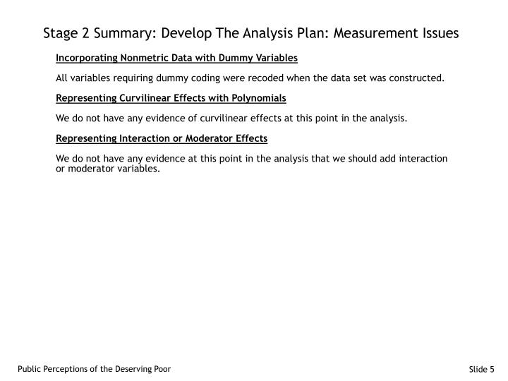 Stage 2 Summary: Develop The Analysis Plan: Measurement Issues