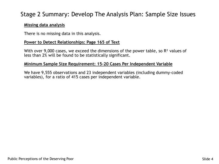 Stage 2 Summary: Develop The Analysis Plan: Sample Size Issues