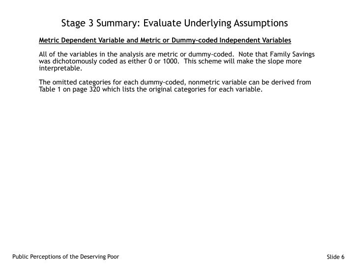 Stage 3 Summary: Evaluate Underlying Assumptions