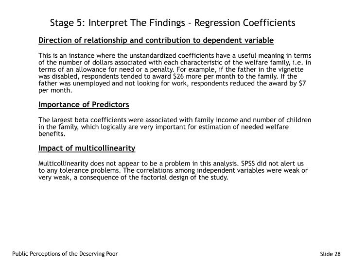 Stage 5: Interpret The Findings - Regression Coefficients