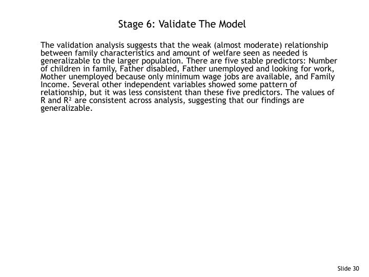 Stage 6: Validate The Model