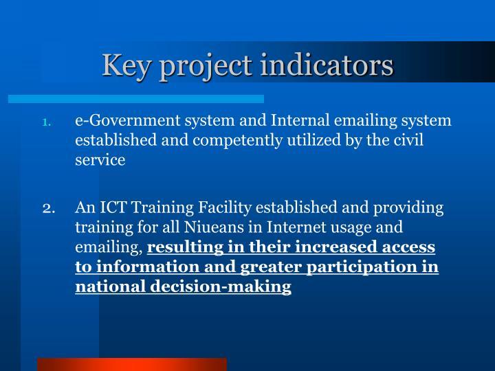 Key project indicators