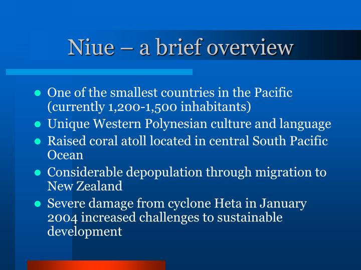 Niue – a brief overview