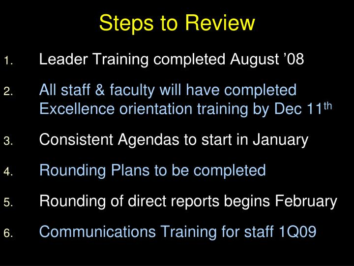Steps to Review