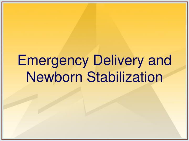 Emergency Delivery and Newborn Stabilization
