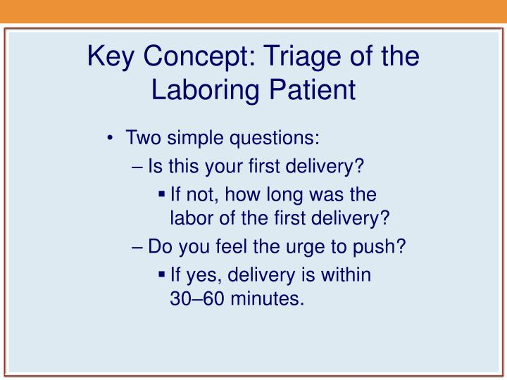 Key Concept: Triage of the Laboring Patient