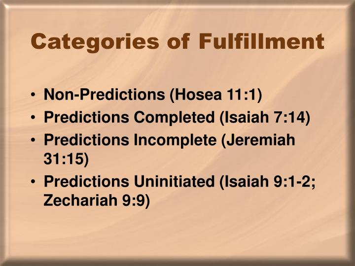 Categories of Fulfillment