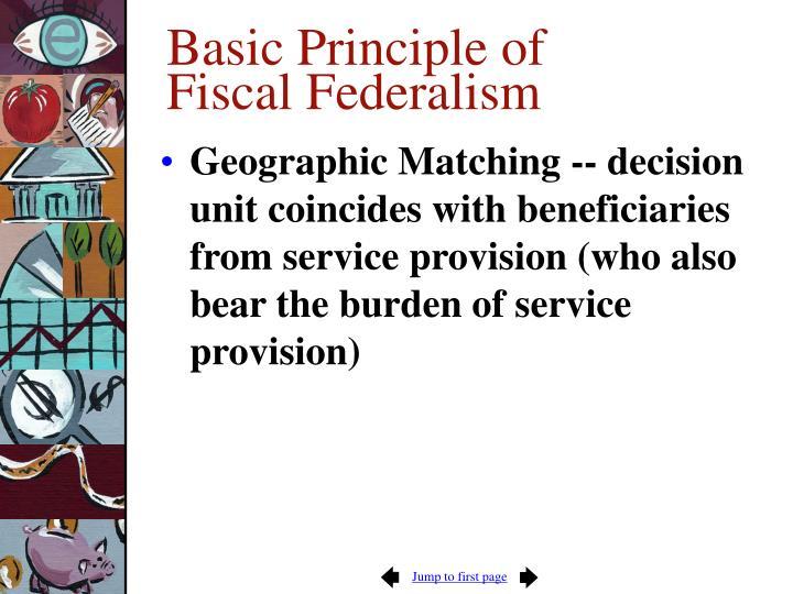 Basic Principle of Fiscal Federalism