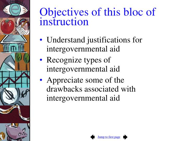 Objectives of this bloc of instruction