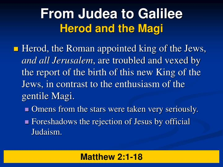 From Judea to Galilee