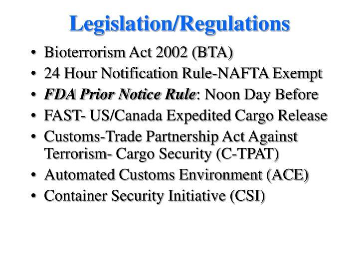 Legislation/Regulations