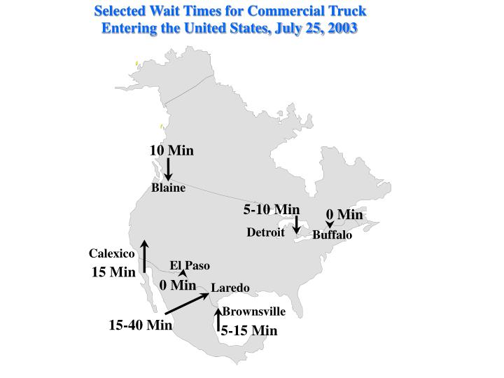 Selected Wait Times for Commercial Truck