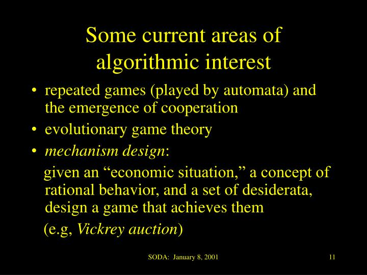 Some current areas of algorithmic interest