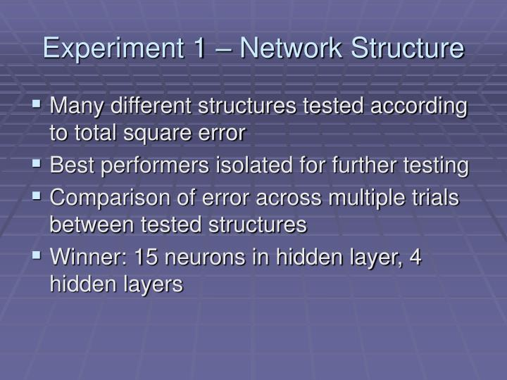 Experiment 1 – Network Structure
