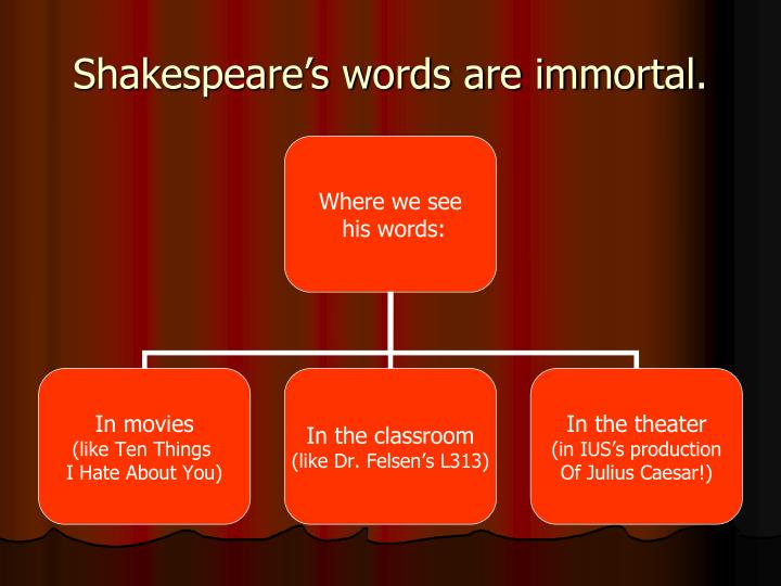 Shakespeare's words are immortal.