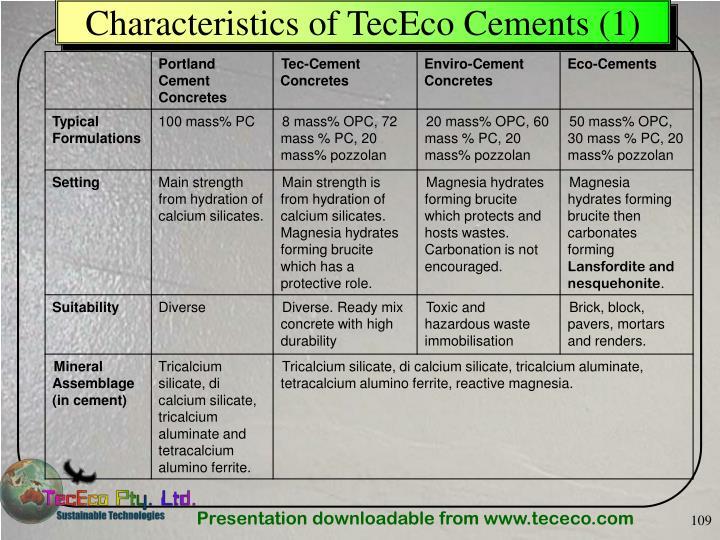 Characteristics of TecEco Cements (1)