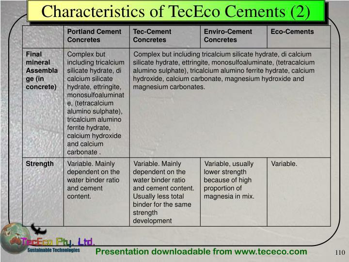Characteristics of TecEco Cements (2)