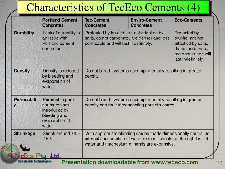 Characteristics of TecEco Cements (4)