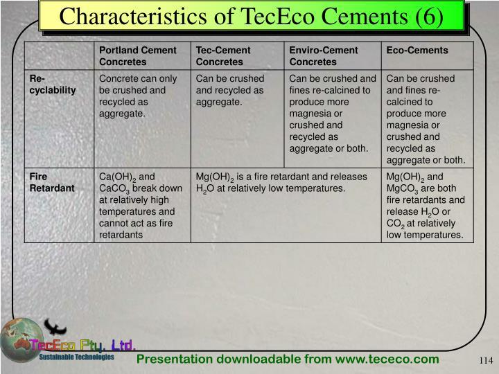 Characteristics of TecEco Cements (6)