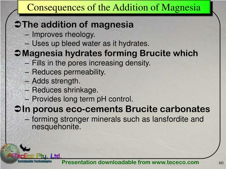 Consequences of the Addition of Magnesia