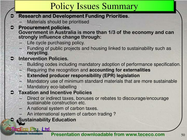 Policy Issues Summary