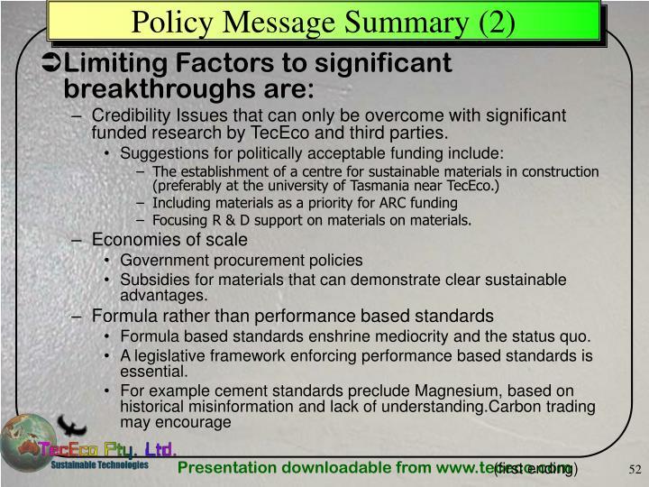 Policy Message Summary (2)