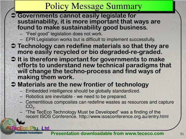 Policy Message Summary