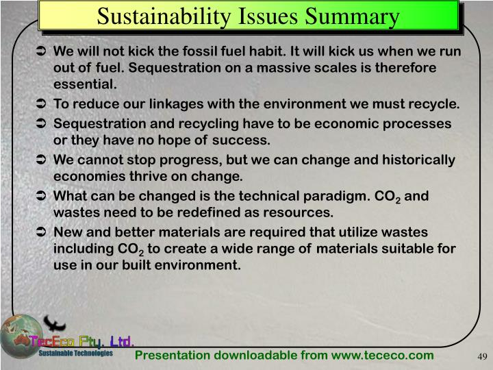 Sustainability Issues Summary