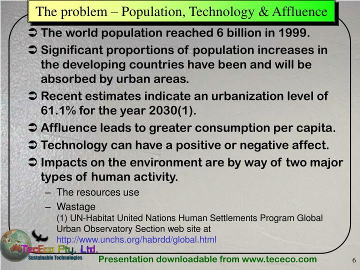 The problem – Population, Technology & Affluence