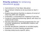 priority actions for enhancing educational access