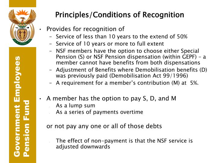 Principles/Conditions of Recognition